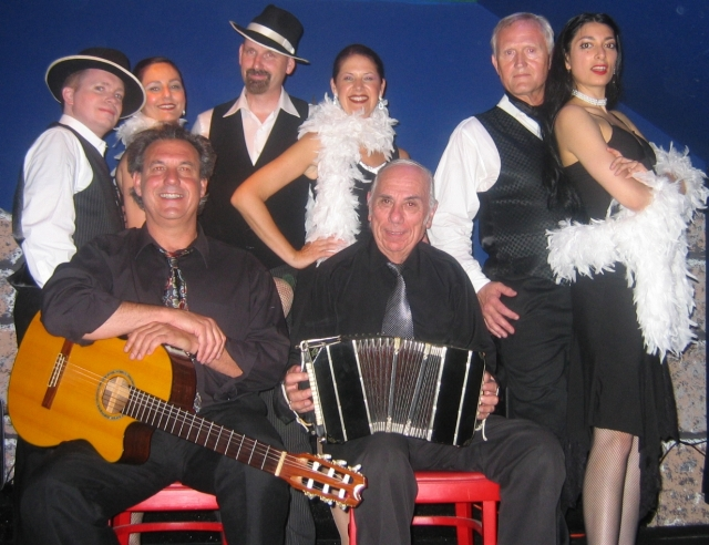 photo of musicans and tango dancers